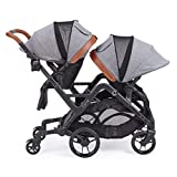 Contours Curve Tandem Double Stroller for Infant and Toddler - 360° Turning and Easy Handling Over Curbs - Multiple Seating Options - UPF50+ Canopies (Graphite Gray)