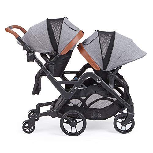 Contours Curve Tandem Double Stroller for Infant and Toddler - 360° Turning and Easy Handling Over Curbs, Multiple Seating Options, UPF50+ Canopies (Graphite Gray)