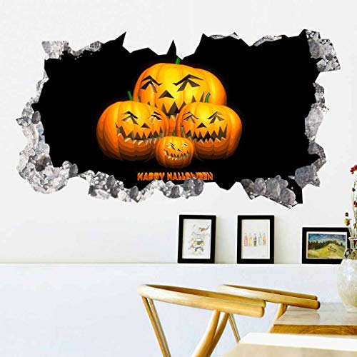 Fine Halloween Pumpkin 3D Broken Wall Sticker, Halloween Theme Party, Home, Cafe, Halloween Theme Hotel, Amusement Park Decoration, Vinyl Removable Decal Home Decor ()