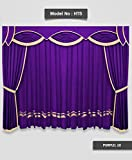 SAARIA HT5 Backdrop Purple Curtain Valance 12ft width x8ft height for Church School Stage,Event shows Hall Decoration