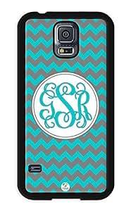 iZERCASE Samsung Galaxy S5 Case Monogram Personalized Dark Turquoise and Grey Chevron RUBBER CASE - Fits Samsung Galaxy S5 T-Mobile, Sprint, Verizon and International (Black)