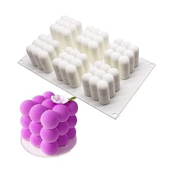 Molde de Silicona 3D, moldes de silicona para postres, 6 cavidades Forma de cubo de rubik, Blanco(Actualizado): Amazon.es: Hogar