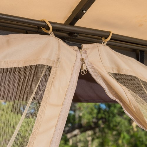 Great Deal Furniture Sonoma Outdoor Iron Gazebo Canopy Umbrella with Net Drapery (Beige)