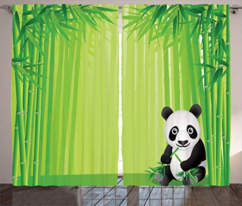 Ambesonne Animal Decor Collection, Panda in a Bamboo Forest Summertime Decorating Tropical Asian Nature Theme Picture, Living Room Bedroom Curtain 2 Panels Set, 108 X 84 Inches, Green Black White -