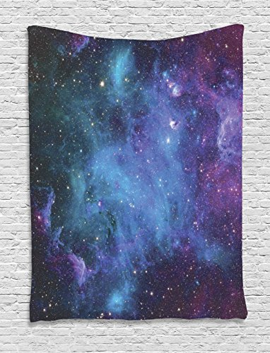 Ambesonne Outer Space Tapestry, Galaxy Stars in Space Celestial Astronomic Planets in The Universe Milky Way, Wall Hanging for Bedroom Living Room Dorm, 40 W X 60 L Inches, Navy Purple