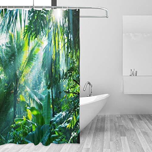 Banana Fish Jungle Gym - Waterproof Shower Curtain for Home Decor, Jungle Sunshine Through Tropical Palm Leaves in Forest Banana Tree Window Curtains with 12 Plastic Hooks, Retro Opaque Bathroom Curtains, 72x72 Inch