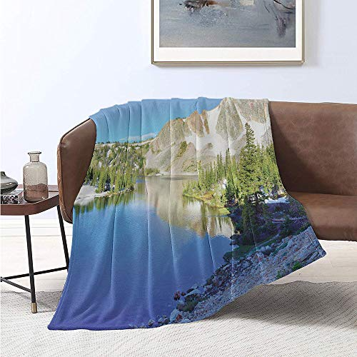 Jecycleus Snow, Weave Pattern Extra Long Blanket, Mountain Range ed in Snow and Lake View in Medicine Bow Wyoming in Sunny Weather, Velvet Plush Throw Blanket 90x70 Inch Multicolor