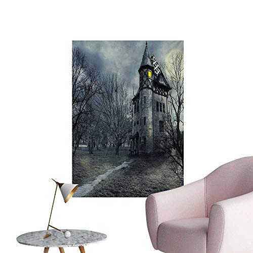 Anzhutwelve Halloween Wall Paper Halloween Design with Gothic Haunted House Dark Sky and Leafless Trees Spooky ThemeTeal W32 xL48 Funny Poster