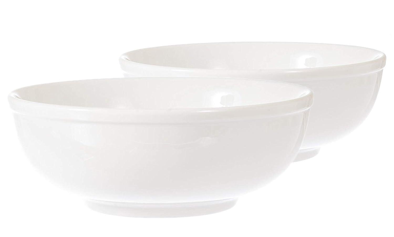Set of 2 Soup Bowls. White Porcelain Ceramic. 8.5 inches, 48 oz. Japanese Asian Korean Ramen Pasta Noodles Salad SAS