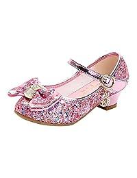 La Vogue Kids Girls Mary Jane Glitter High Heels Princess Dress Shoes