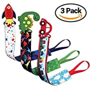 Tidy Todd –Plastic Pacifier Clip with Cartoons, Car, Dinosaur, Rocket – 29 cm long, Safe & Secure Fit, Perfect Baby Shower Gift (Pack of 3) Talented Kids Secret eBook Included