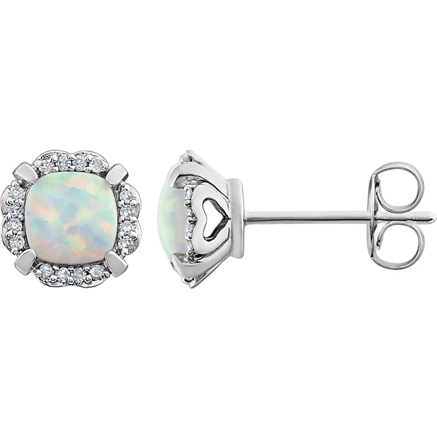Amazon 14K White Gold Created Opal & 1 10 CTW Diamond Earrings