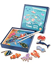 Magnetic Smooth Fishing Toy, Baby Fishing Toy, Wooden Fishing Toy Safe and Non-Toxic for KidS Children