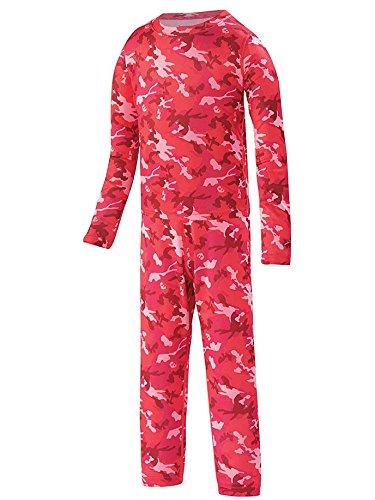 Terramar Long Underwear Top - Terramar Kid's 1.0 Power Play Two Piece Set, Poppy Camo Print, 2T
