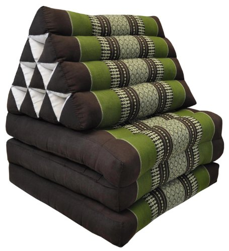 Thai mattress 3 folds with triangle cushion, brown/green, relaxation, beach, pool, meditation garden (82003) by Wilai GmbH