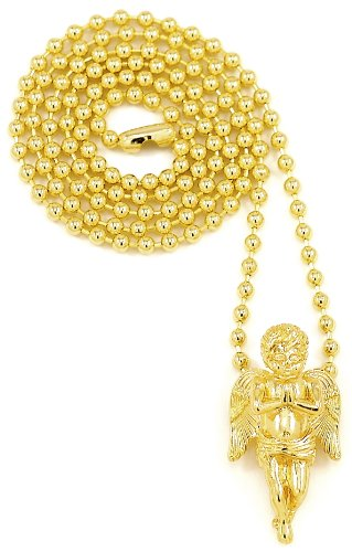 Angel Necklace New Praying Small Size Gold Color With 27 Inch Ball Style - Style Wayne Lil