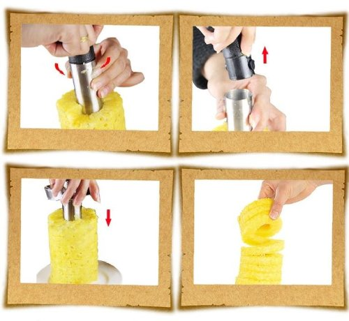 Statko Stainless Steel Pineapple Peeler, Pineapple Corer, Pineapple Slicer - All In One Kitchen Gadget