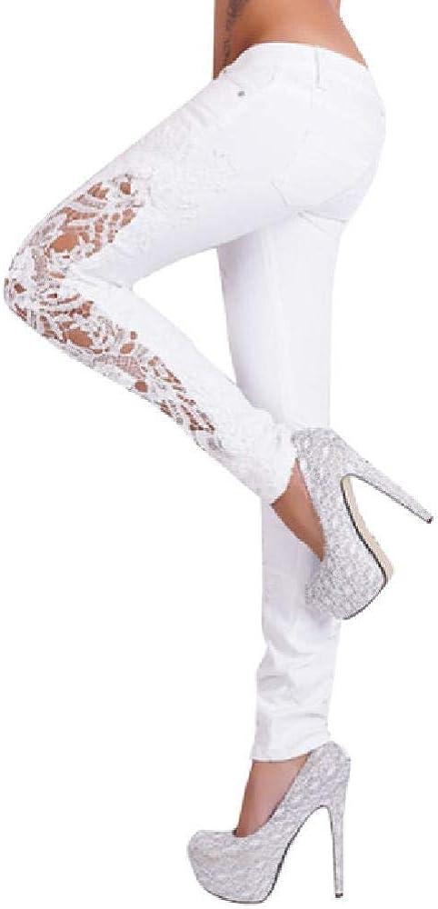 Pantalones Largos de Encaje ahuecados para Mujer, Pantalones Vaqueros Sexis de Cintura Baja, Pantalones de Mezclilla Ajustados Blancos a la Moda para Mujer # T20