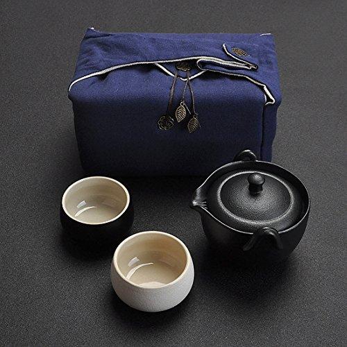 100% Handmade Chinese Kung fu Tea Portable Travel Tea Set – Teapot  Teacups  Vintage Bag