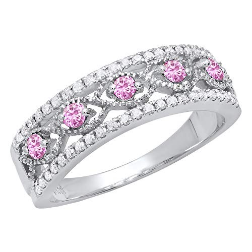 Dazzlingrock Collection Sterling Silver Round Pink Sapphire & White Diamond Ladies Anniversary Wedding Band, Size 5.5