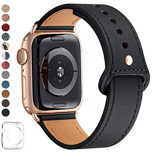 LOVLEOP Bands Compatible with Apple Watch Band 40mm 38mm 44mm 42mm, Top Grain Leather Strap for iWatch Series 4 Series 3 Series 2 Series 1 (Black +Rose Gold Connector, 38mm 40mm) (Watch Band 40mm)