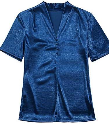 2019 new summer Korean wild Slim solid color shirt female summer v-neck t-shirt short-sleeved shirt waist coat brand:QWERTY (Color : Black, Size : 2XL)