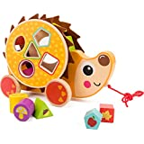 COSSY Wooden Shape Sorter Pull Toy - Wooden Hedgehog Puzzle for Toddler Learning Walk-A-Long Push & Educational Toy for 1 Year Old