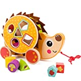 COSSY Wooden Shape Sorter Pull Toy - Wooden Hedgehog Puzzle...