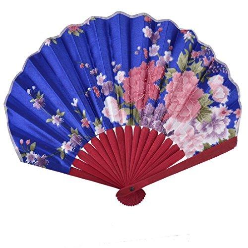 DealMux Wood Frame Floral Pattern Home Party Dancing Folding Handheld Fan 23cm Length