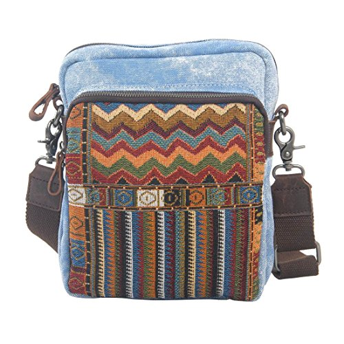 VRIKOO National Style Women Men Canvas Messenger Crossbody Bag Casual Ipad Shoulder Bags Schoolbag (Dark Grey) Mar Azul