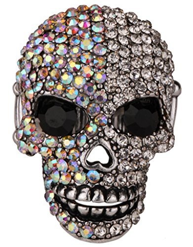YACQ Women's Skull Stretch Rings with Moving Jaw Biker Costume Jewelry Silk Scarf Clasp Buckle