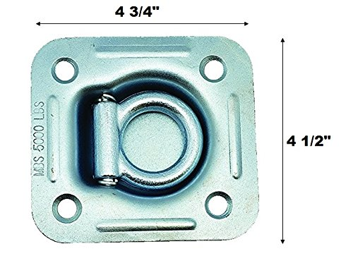 5'' X 4 3/4'' Floor Mount D-Ring   Capacity: 5,000 lbs   ZINC Plated   Heavy Duty Cargo TIE Down for Trailer RV Truck Flatbed Pickup (1, 2 Pack)