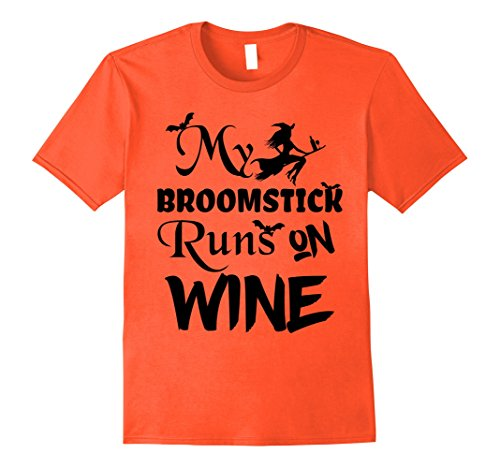Mens Broomstick Runs on Wine Halloween T-Shirt - Cute and Funny Large Orange -
