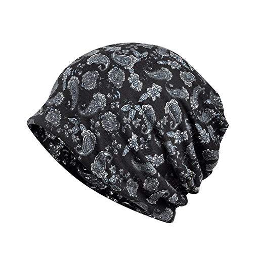 Smileyyi Cashew Flower Pattern Cotton Print Bean Beanie Hat Chemo Cap Turban