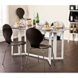 SEI Furniture Driness Drop Leaf Convertible Console Dining Table, Weathered Gray/White