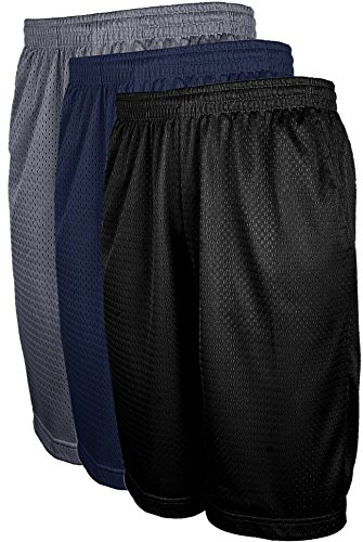 VIIVIIKAY Men's Athletic Basketball Shorts - Mesh Workout Gym Shorts with Pocket SET3_BLK_DKGREY_NAV 3XL