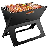 Barbecue Charcoal Grill Folding, Ledeak Portable BBQ Smoker Grill Tools Stainless Steel, Ultralight Foldable Grill Easy to Setup, Suitable for Camping Cooking Picnic Backpacking Garden Party Festival