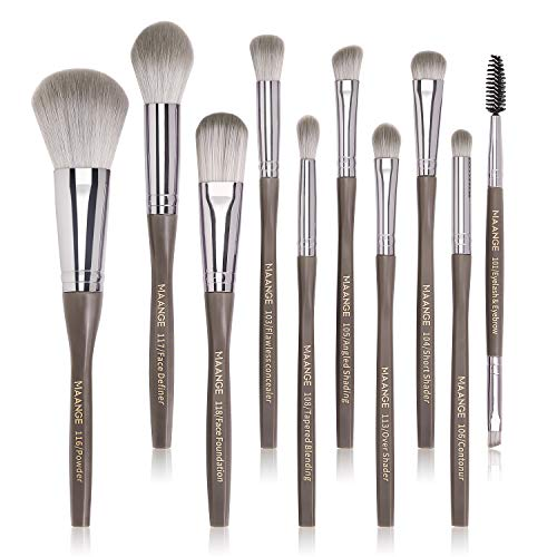 Makeup Brushes, MAANGE 10Pcs Makeup Brush Set Premium Synthetic Foundation Contour Highlight Professional Makeup Brush Set for Women Girl (Gray)