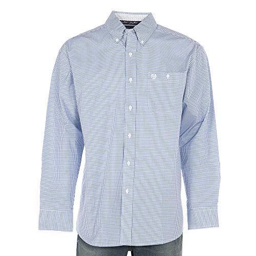 - Wrangler Apparel Mens George Strait and White Small Plaid Shirt XL Blue