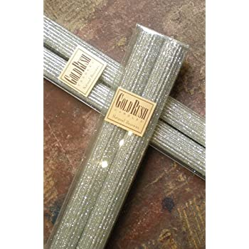 12 Inch Natural Beeswax Glitter Candles, Platinum Color, Boxed Set of 2