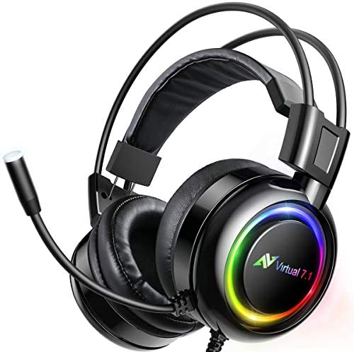 ABKONCORE Shoker Gaming Headset with Noise Canceling Mic – PC Headset with Dynamic Sensory, 7.1 Surround Sound, Soft Memory Foam, RGB Light for PC, Laptop, Mac