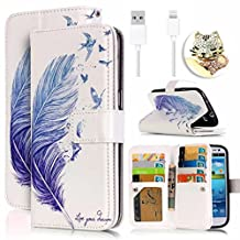 Vandot 3in1 Set Apple iPhone 5 5s SE Case Cover,Colorful Printing Drawing PU Leather Magnetic Closure Flip Stand Wallet Case[Credit Card Holder][Perfect Fit] Protective Skin Shell+Bling Anti Dust Plug+Micro USB Cable-Blue Feather Birds Love Dream