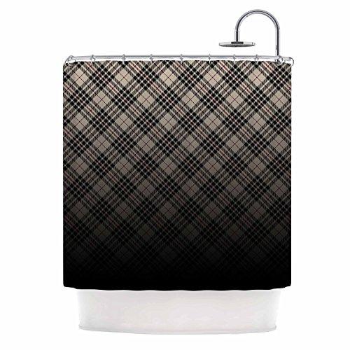KESS InHouse Draper Grunge Black Beige Digital Shower Curtain, 69