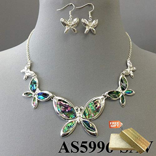 (Silver Tone Multiple Butterfly Abalone Shell Pendants Necklace Set & Earrings Set For Women + Gold Cotton Filled Gift Box for Free)