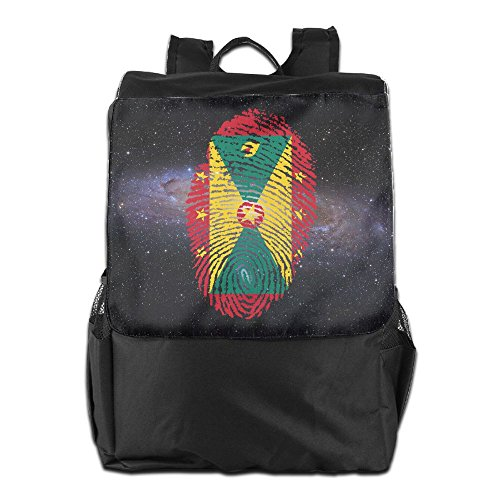 Grenada Flag Fingerprint Unisex Casual Backpack Laptop Daypacks Lightweight Packable Durable Travel Hiking Backpack (Grenada One Light)