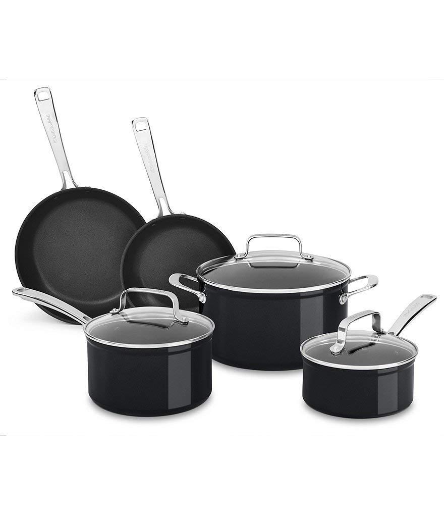 KitchenAid Hard Anodized Induction Non-Stick 8-Piece Cookware Set, Black, KC3H1S08BE