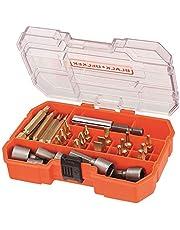 Black+Decker 32 Pieces Screwdriver & Socket Bit Set in Kitbox, Orange/Black - A7229-XJ