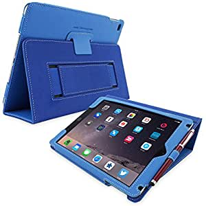 iPad Air (iPad 5) Case, Snugg™ - Smart Cover with Flip Stand & Lifetime Guarantee (Electric Blue Leather) for Apple iPad Air (2013)