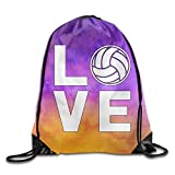 Cheap I Love Volleyball For Volleyball Fans Sports Drawstring Backpack Bags