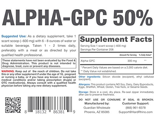 Hard Rhino Alpha GPC 50% Powder.
